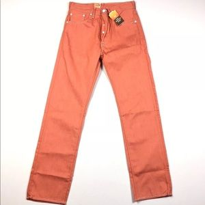 Levi's 501 Raw Shrink to Fit Peach Salmon Jeans